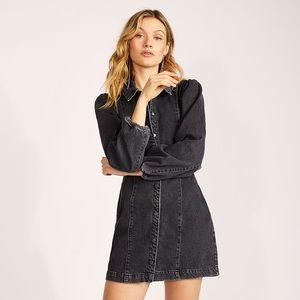 Free People Mia Mini Black Demin Dress Size Large